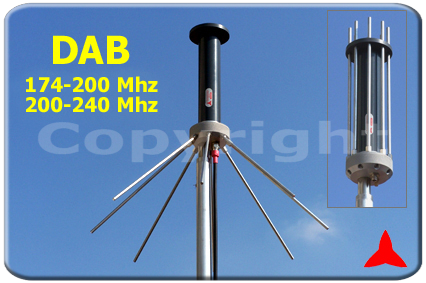 Antenna Omnidirezionale ground plane DAB 174-200mhz 200-230 Mhz protel