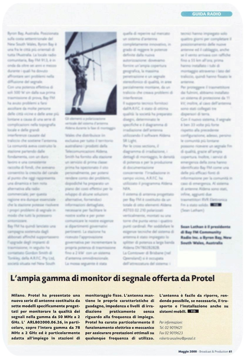 Stampa Protel Antenne Broadcast Production Magazine  05-2000