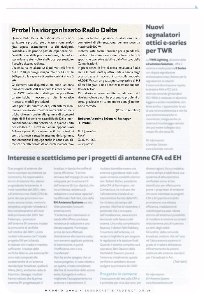 Stampa Protel Antenne Broadcast Production Magazine  05-2002