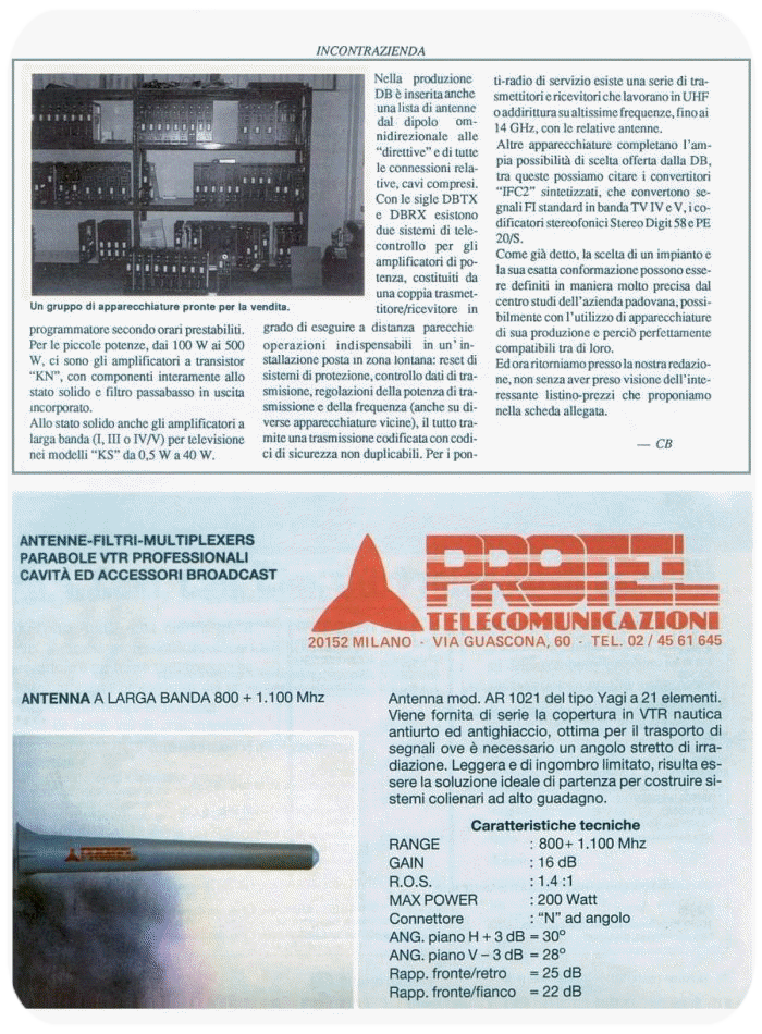 Stampa Protel Antenne - Monitor year 12-1989