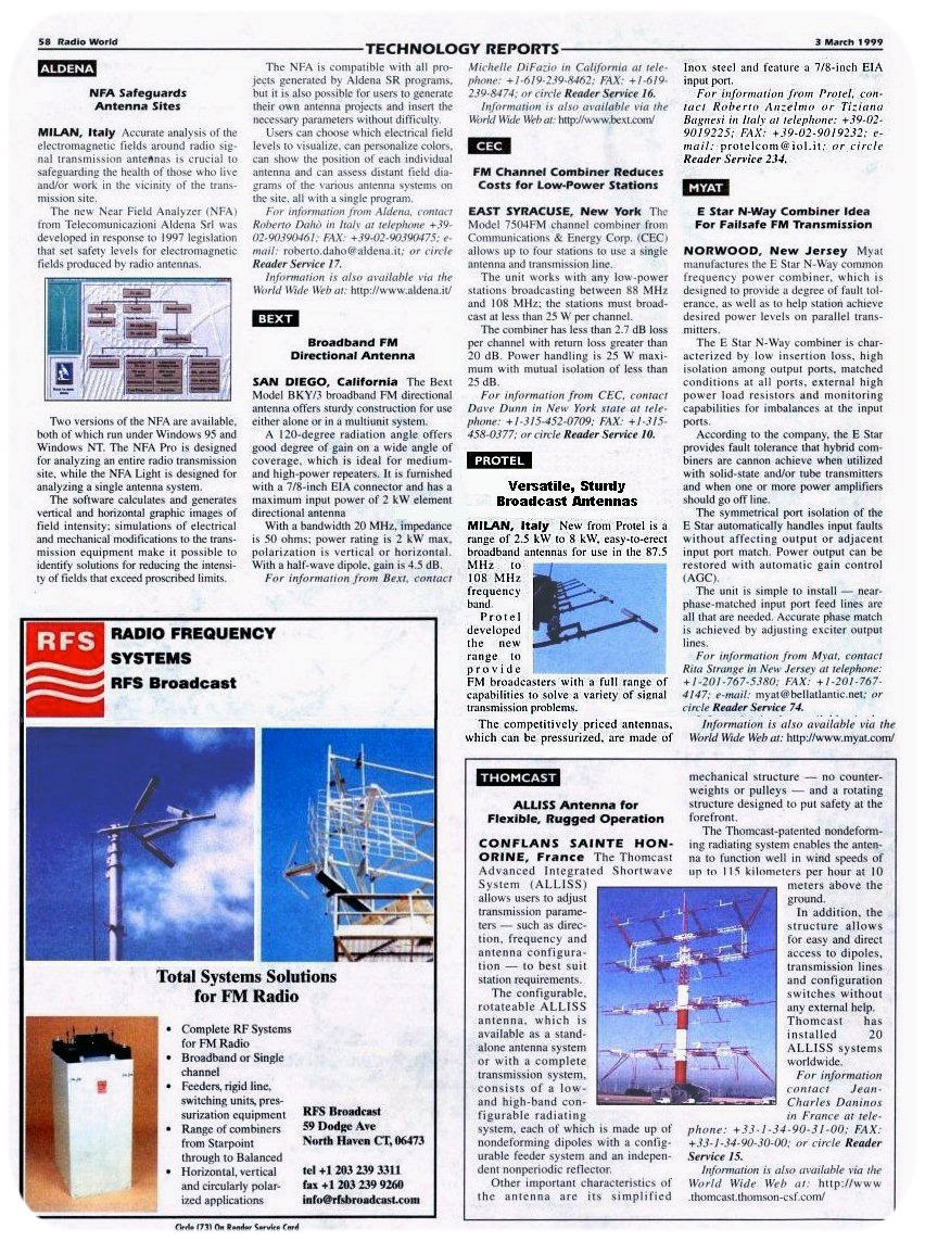 Stampa Protel Antenne Radio World Magazine  03-1999