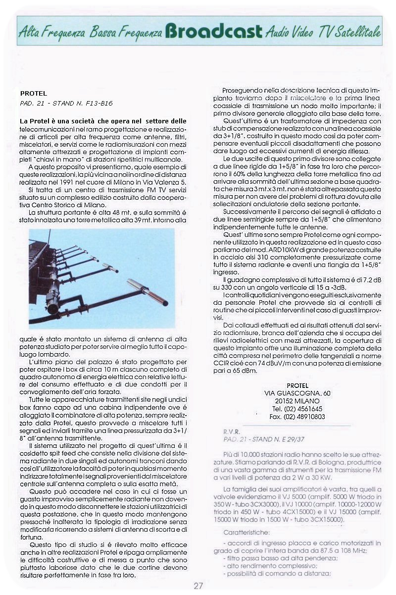Stampa Protel Antenne TVR Magazine 11-1992